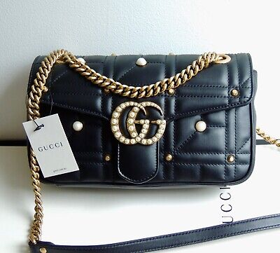 03dd63b17 NWT Auth GUCCI Marmont Bag Black Matelasse Leather SMALL Pearls Studs NEW