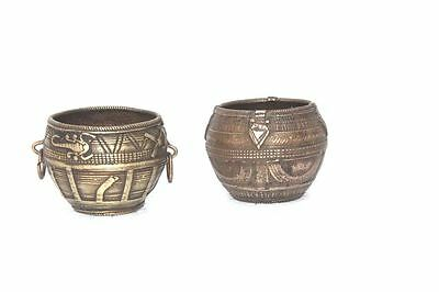 2 Pc. Brass Small Carved Bowls Old Vintage Rare Antique Indian Collectible PA-67