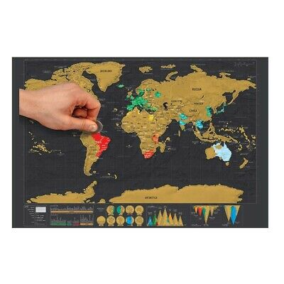 Nomal Scratch Off World Map Deluxe Edition Travel Log Journal Poster With Box