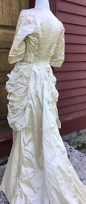 Antique Victorian Edwardian Wedding Gown Ivory Satin With Exceptional Pleated De