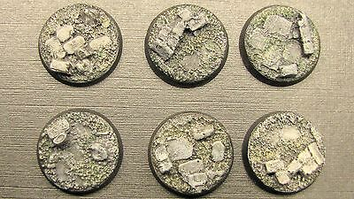 10 X  UNPAINTED 25mm Resin Bases Rubble Stone Scenery Bolt Action 40k Frostgrave