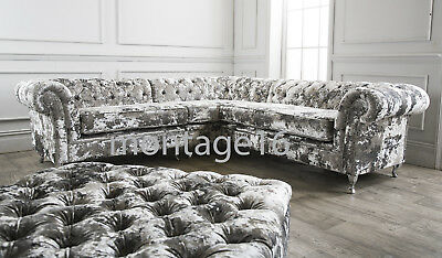 Chelsea Button Back Chesterfield Silver Velvet Corner Sofa & Footstool RRP£3389