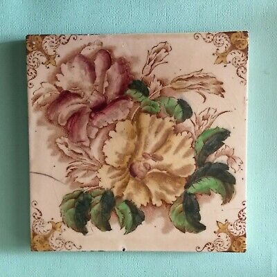 Old Hand Coloured Ceramic Washstand Fireplace Vintage Tile