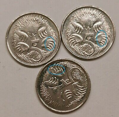 3 x 2014 5 Cent Coins - Cud Errors on the Echidnas Claws
