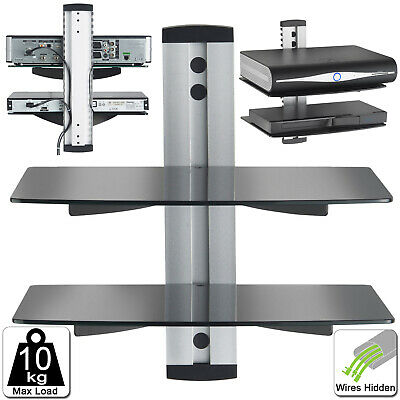 2 Tier Black Glass Floating Wall Mount Shelf DVD Player Sky Box PS4 Game Console