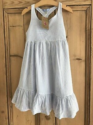 JOULES Girls Blue & Cream Stripe Dress ~ Age 5 ~ BNWT