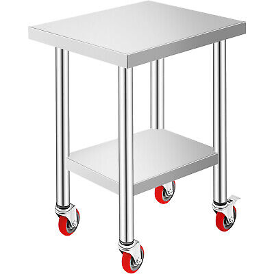 """Commercial 18""""x24""""Stainless Steel Work Prep Table With 4 Wheels Kitchen"""