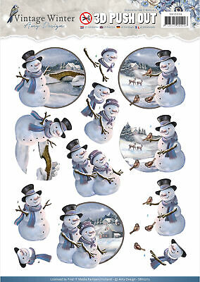 Find It Trading Amy Design Punchout Sheet-Snowman, Vintage Winter - 10 Pack