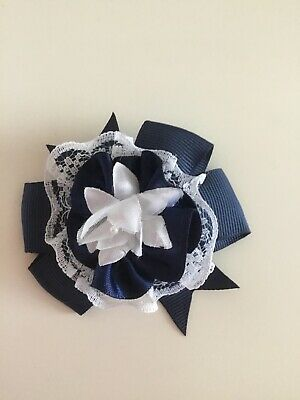 "Wedding Flower Girl School Small 3"" Girls Navy Blue Hair Bow Clip Lace Bow"
