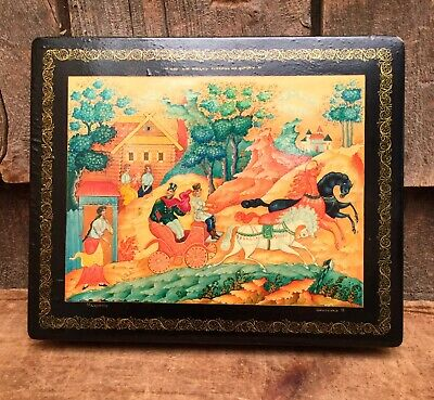 Beautiful Vintage Soviet Russian Fedoskino Lacquer Cover Trinket Box Signed