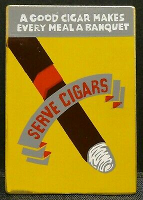 "Dollhouse Miniatures Metal Sign Advertising Tobacco SERVE CIGARS 1 1/8"" x 1 5/8"""
