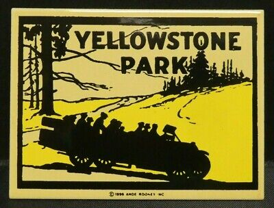 "Dollhouse Miniatures Metal Sign Advertising YELLOWSTONE PARK 2 1/4"" x 1 3/4"""