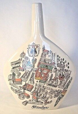 "Vtg Mid Century Mod German Vase Decanter Ivory Ceramic "" Munchen"" Munich Map"