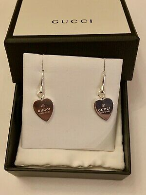 db3f11444 NEW GUCCI Love Heart Drop Dangle Earrings in Sterling Silver Made in Italy  🇮🇹