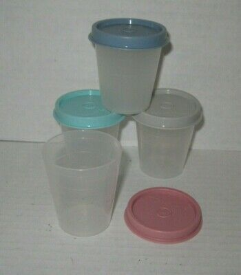 TUPPERWARE Tupper Mini 2 OZ MIDGET CONTAINERS ~ pink blue green gray (pre owned)