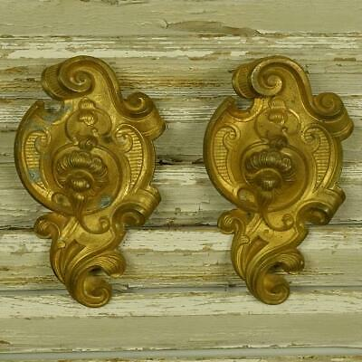 Divine PAIR Antique French Ormolu Hook Covers / Embellishments, Acanthus Scrolls