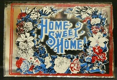 "Dollhouse Miniatures Mirror Sign HOME SWEET HOME FLOWERS 2 1/4"" x 1 5/8"""