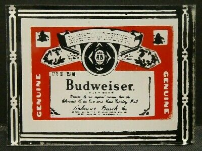 "Dollhouse Miniatures Mirror Sign Advertising Beverage BUDWEISER BEER 2"" x 1 1/2"""