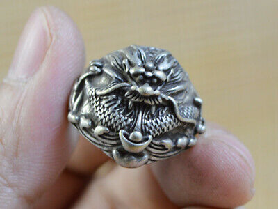 Silver Hand-carved Dragon Fashion Classic Ring Collection Gift decorate