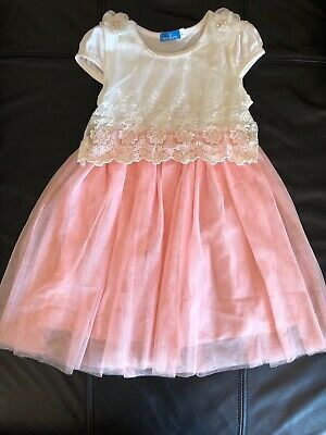Girls Preowned Crem/Light Pink/Peach Cotton/Lace Dress Sz 8Y