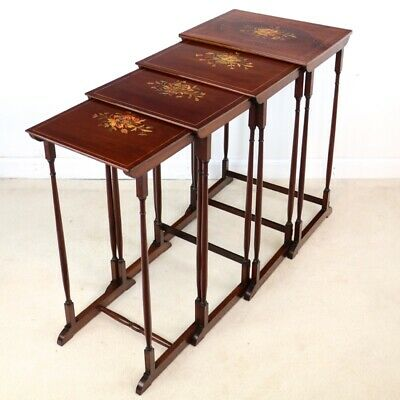 Set or Nest of Victorian Mahogany & Marquetry Inlaid Quartetto Tables