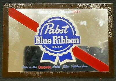 "Dollhouse Miniatures Mirror Sign Advert PABST BLUE RIBBON BEER 1 7/8"" x 1 1/4"""