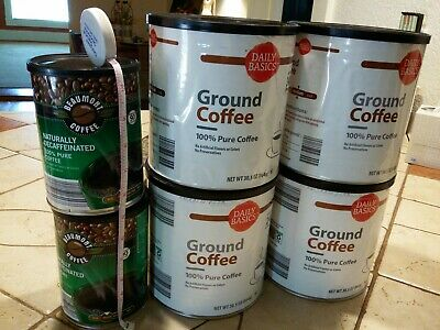Lot 6 Empty Metal Coffee Cans w/Lids for Craft Repurpose Storage Container Big