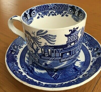 Willow Pattern Breakfast Tea Cup And Saucer - Over-Sized - Burleigh Ware