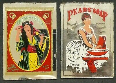 Dollhouse Miniatures Mirror Sign Advertising PEAR'S SOAP OLYMPIA BEER 1.5 x 2.25