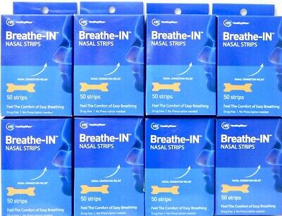 (LOT OF 8 BOXES) HealthyWiser Breathe-IN NASAL STRIPS Sleep/Congestion Aid 50ct.