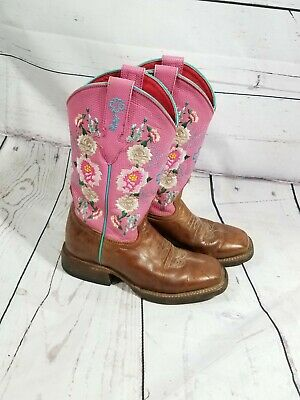 1f0c8bad35a GIRLS MACIE BEAN Leather Cowgirl Boots! Mk8012-Floral With Cross On ...