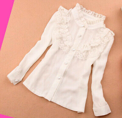 Girls Shirt White off Top Ruffled School Autumn Long sleeve Blouse Age 2-14 year
