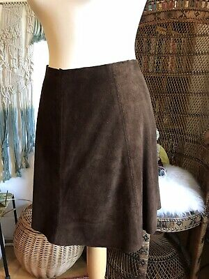 Original Vintage 60s 70s Brown Suede Mini Skirt Small