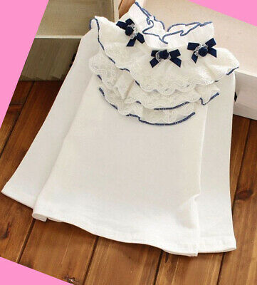 Girls Blouse Top Ruffle Shirt White off Long sleeve Summer Spring age 2-12 years