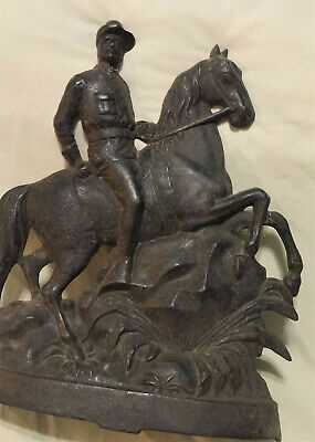 Vintage Teddy Roosevelt Cast Iron Figure On Horse As Is Please Read Marked Back