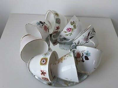 8 X Vintage China Tea Cups Mismatched Mix & Match Duchess Royal Stafford Lob Lot