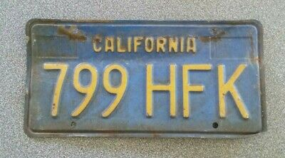 Vintage 1969-1980 California Yellow on Blue License Plate # 799 HFK