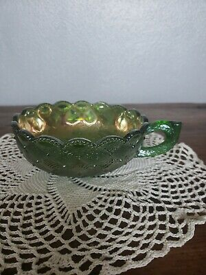 Vintage Imperial Glass, Poppy Pattern, Green Carnival Glass Dish Finger Handle