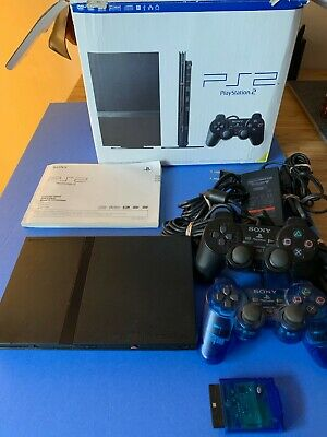 Sony PlayStation 2 Slim Charcoal Black Console (SCPH-77001CB) In box complete