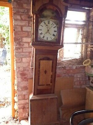 Longcase clock in need of restoration: F. Kleiser, Hereford. Painted face.