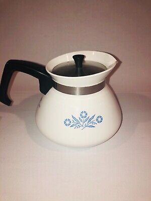 VINTAGE CORNING WARE 6 CUP TEA COFFEE POT BLUE CORNFLOWER #P-104 with lid