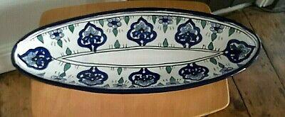 Vintage Large Pottery Oval serving dish-pos' Greek?, stamped unable to read, 21""