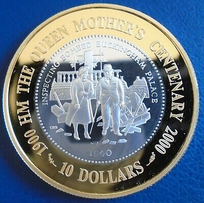 "TOKELAU.: 2000 $5 LT ""Queen Mother 100"" .925 silver proof, cap, cert - top grade"