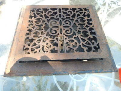 Vtg Ornate Cast Iron Floor Grate Collar And Damper