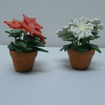 """Dollhouse Miniature Flowers Garden Potted Plant Clay Hand Made Poinsettia 1.5"""""""