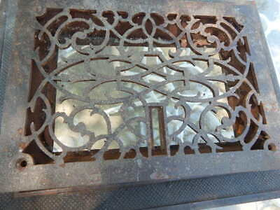 VTG ORNATE CAST IRON FLOOR GRATE WITH COLLAR 12 x 16