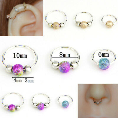Stainless Steel Nose Ring Beads Nostril Hoop Nose Earring Piercing Jewelry HATA