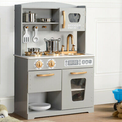 Play Kitchen Wooden Kids Pretend Play Toy by Hooga Grey/ Gold - HG19001G