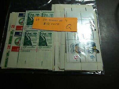 Us Postage 50 Never Hinged Plate Blocks Of 4 Of 6 Cent Stamps $12.00 Face (Q)