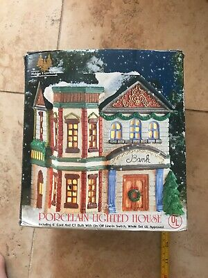 CHRISTMAS BLOWOUT: Holiday Expressions Porcelain Lighted House- Bank CH-04
